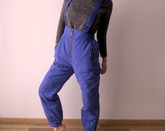 Vintage Warm Skiing Suit Pants Winter Hipster Snow Pants Purple Nylon Windbreaker Pants Medium to Large Size Ski Overalls Pants