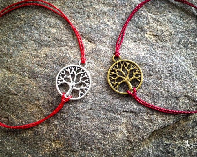 Red string bracelet Tree of life - yoga meditation crimson thread symbol luck protection evil eye boho jewelry kabbalah