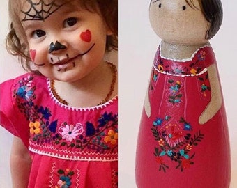 Hand Painted, Custom Made, Portrait Peg Doll Child, Peg People, Wooden Toy / Cake Topper