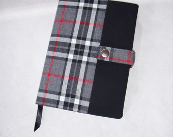 Tartan Reusable Book Cover with Notebook or Diary Grey Thompson Tartan plaid fabric. A5 Hardback lined notebook or 2017 week to view Diary