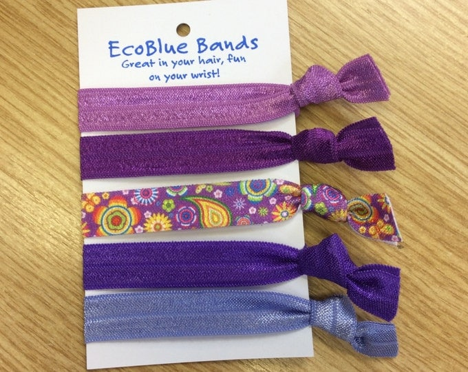 5 hair elastics, soft stretch hair ties, ponies, yoga hair ties, bracelets, ponytail holders - Lavender mix