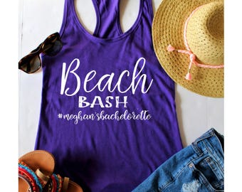 Bachelorette Party Beach Bash Fitted Racerback Tank Top, XS-2XL, Bachelorette Party Shirts, Wine Tasting Trip, Gift For Her, Beach Apparel