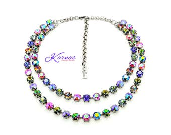 HELLO SUNSHINE 8mm Chaton & Rivoli Crystal Double Strand Necklace Swarovski Elements *Pick Your Finish *Karnas Design Studio *Free Shipping*