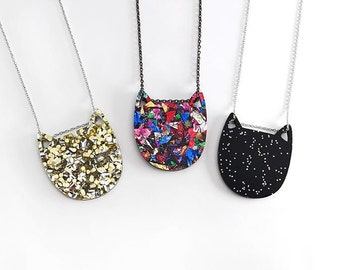 Pancake cat necklace - premium glitter acrylic