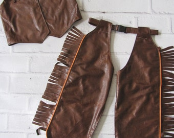 Cowboy Costume, Childrens Chaps, Cowgirl Costume, Dress-Up Chaps , Western Costume, Kids Chaps and Vest, Cowboy Vest, Rodeo Costume