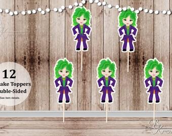 Superhero Girl Villain Party - Set of 12  Girl Joker Inspired Double Sided Cupcake Toppers