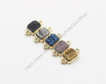 SALE Tiny Druzy Connectors -- Druzzy Drusy With Electroplated Gold Edge Dainty Charms Wholesale Supplies YHA-011
