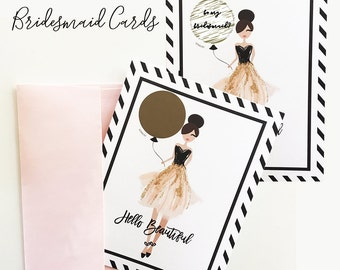 Scratch Off Bridesmaid Scratch off Cards Scratch off Will you be my Bridesmaid Cards  (EB3186) - set of 4 cards w/ envelopes