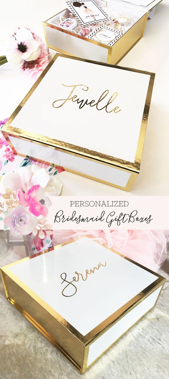 Bridesmaid gift box boxes personalized