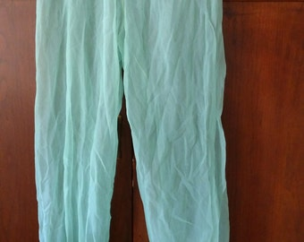 Sweet VTG 80's Harem Pants Pantaloons Mint Green Polyester fabric Belly Dance performance Cabaret Fusion Cosplay size XS Petite or Teen
