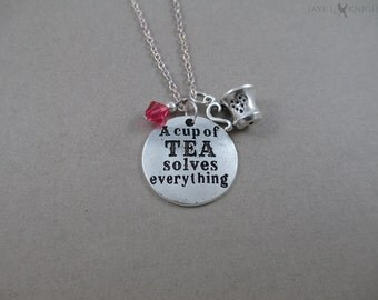CLEARANCE - A Cup of Tea Solves Everything Tea Cup Charm Necklace - Silver