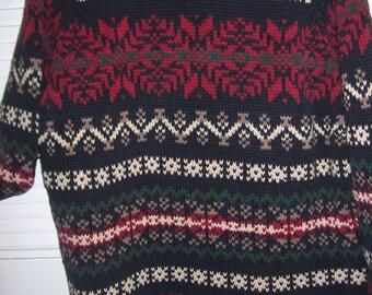 Vintage Eddie Bauer Winter Wonderland  Knitted Cotton Sweater XL