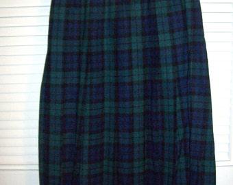 Vintage Pendleton Watch Plaid Wool Skirt Dropped Waist, Pleated, Size  8 - 10