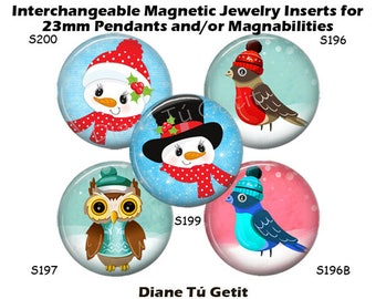 """Jewelry Inserts, Magnet Inserts for Magnabilities, Christmas Snowman Birds for Interchangeable Magnetic Inserts, 1"""" Round Button"""