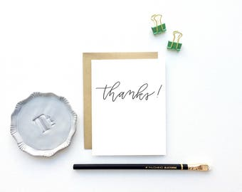 Card - Thanks Script | Thank You Card, Stationery, Hand Lettering, Modern Calligraphy, Classic Stationery