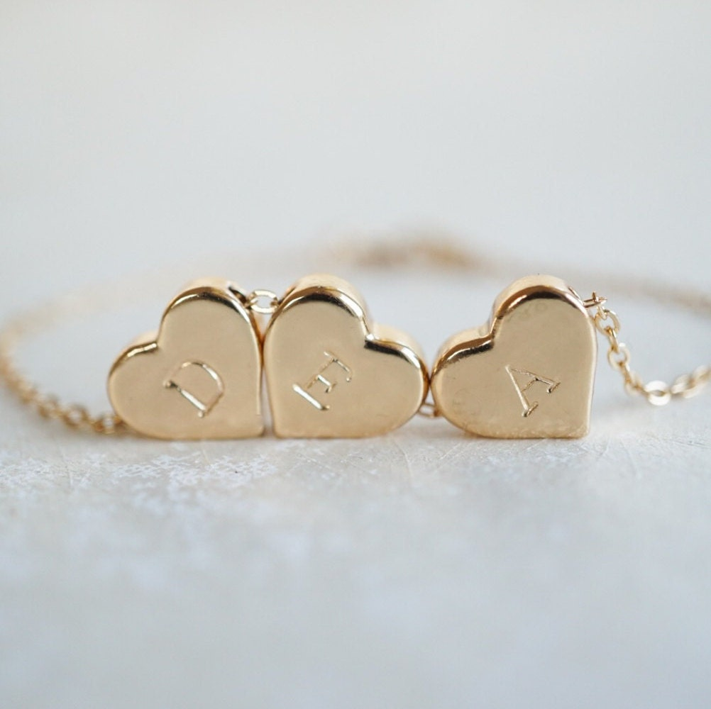 Personalised 3 Heart Gold Bracelet Custom Best Friend Mother
