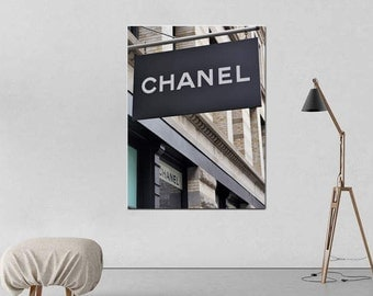 Chanel decor, Chanel art print or Chanel canvas art, Coco Chanel shop sign, Chanel boutique, NYC fashion store chanel wall art, vertical
