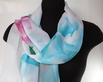 Women's scarves - Unique handmade scarves - Design scarves - Fashion scarves - Scarves for ladies - Spring summer scarf - Flower accessories