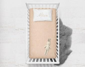 Fitted Crib Sheet Blush Linen. Minky Fitted Sheet. Pink Baby Bedding. Toddler Sheet. Pink Crib Sheet. Solid Blush Crib Sheet. To