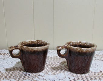 Hull Brown Drip Cups ~ Set of 3 ~ Mugs for Coffee ~ Retro Kitchen ~ Farmhouse ~ Brown Drip Coffee Cups ~ Replacement to Hull Set