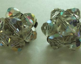 """Vintage ESTATE Clear AB CRYSTAL Flowal 7/8"""" Earrings"""