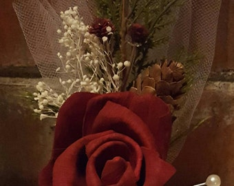 Corsage, Sola Rose Corsages, Burgundy Rose Sola Corsages