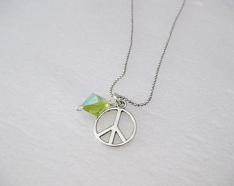 Necklace ~ Tibetan Silver Peace sign with Green Crystal bead  AB