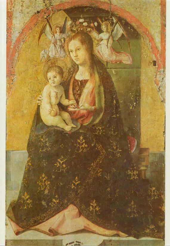 Vintage 1966 print of Madonna and Child, painted by Antonello da Messina in 15th century, beautiful details, matted & mounted, 11 x 14 ins