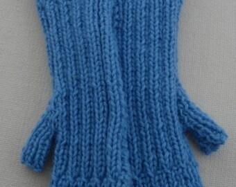Fingerless Mittens - Saphire Blue