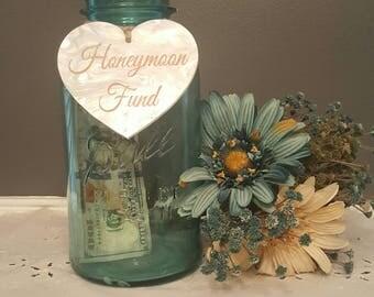 Laser Engraved - Heart Honeymoon Fund Tag -  Honeymoon Fund Tag - Honeymoon Fund
