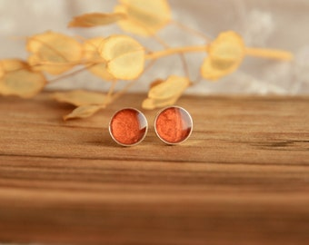 Copper earrings, hand painted waterproof round sterling silver ear studs, little 7 mm ear dots, copper jewelry, gift for her in jewelry box