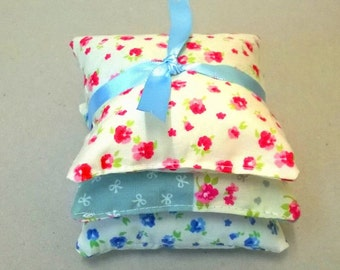 Lavender bags in pink and blue floral, three lavender sachets, floral scented bags, lavender pillows, ladies gift idea, pretty lavender bags