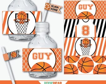 Basketball Water Bottle Labels - Basketball Birthday - Basketball Party - Basketball Printables - Basketball Water Bottle (Instant Download)