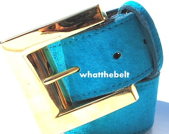 Vintage Blue Green Aqua Suede Wide Leather Belt with Bold Square Gold Belt Buckle Small