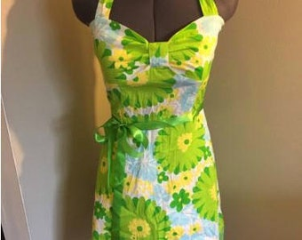 Floral Green 50s Inspired Strap Sundress