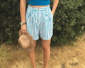 Bright Turquoise and White Striped, Pleated Trouser Shorts with Pockets
