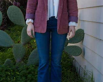 Magenta Pink Corduroy Blazer with 4 Pockets