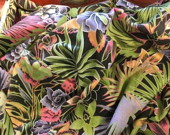Tropical Cotton Fabric // Vintage / 3 Yards