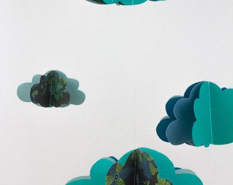 Mobile paper 3D clouds + Garland of assorted clouds - UNIQUE blue green molded leaves - Christmas gift decor baby room baby nursery
