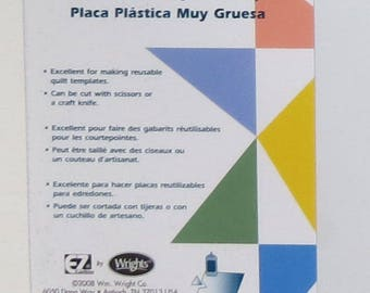 """Extra Thick Template Plastic 12"""" x 18""""; 3 pieces; EZ Quilting by Wrights; 882670053; Opaque, No grid; Cut with scissors or craft knife"""