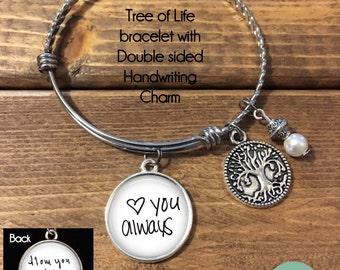 Custom Handwriting Bracelet - Handwriting Jewelry - Handwriting Bracelet, Keepsake Bracelet, Tree of life, Loved Ones Handwriting Jewelry