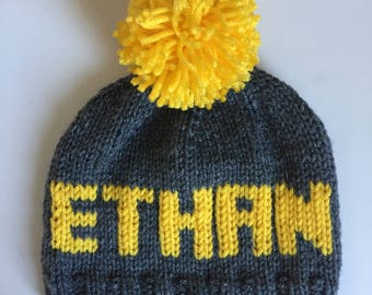 Hand knit hat for children and babies