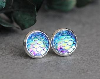 Blue Mermaid Earrings, Blue Fish Scale Earrings, Blue Stud Earrings,Blue Dragon Scale Earrings,Blue Mermaid Stud Earrings,Blue Scale Earring
