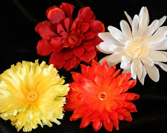 Large Hair Flower Clip decoration for any occasion set of 4 flowers for girls or her