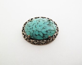 Vintage Signed Miracle Scottish Celtic Style Faux Turquoise Oval Brooch