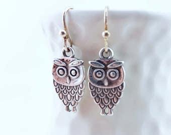 little owl earrings - silver owl earrings - cute owl earrings - tiny owl earrings - tiny bird earrings - cute owls - tiny owls - owl charms