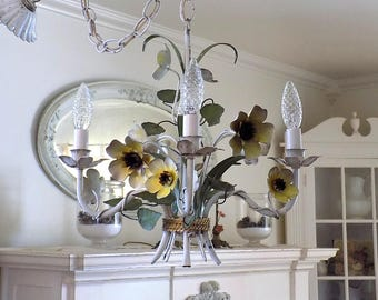 Antique Italian Tole Chandelier w/ Yellow Daisies ~ Vintage Shabby Cottage Light Fixture ~  Old Metal Toleware Flowers * French Chic
