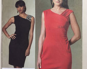 Vogue V1205, Kay Unger NewYork, Misses', Close Fitting, Lined Dress, Tapered Dress, Contrast Bodice, Pattern Sizes 8,10,12,14 Uncut