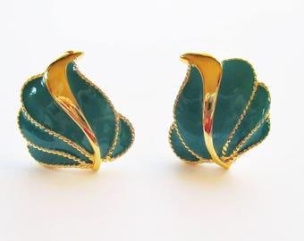 Vintage JS Clip on Earrings - Retro Teal Earrings Goldtone Earrings - Vintage Vogue Clip on Earrings - Teal Enamel Earrings