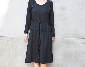 Long sleeve dress - Black Knit dress - Midi Dress with side pockets -Long Black dress - Casual Dress